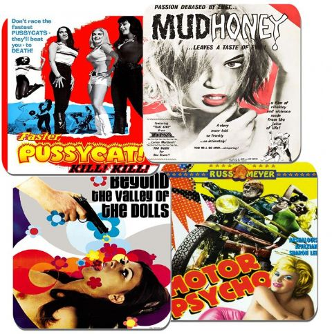 Russ Meyer Movie Poster Coasters Set Of 4. High Quality Cork Pussycat Film Gift